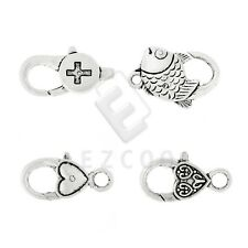 10pcs Lobster Claw Clasp Antique Silver for Other/Fish/Heart Jewelry Finding YB