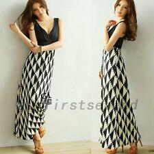 Wrapped V-neck Womens Houndstooth Print Summer Beach Cocktail Party Maxi Dress