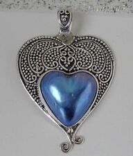 Mabe Pearl Solid Silver, 925 Bali Handcrafted Heart Pendant 26203