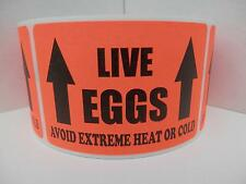 LIVE EGGS AVOID EXTREME HEAT OR COLD Hatching Egg Labels Fluor Red 250/rl