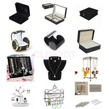 Earrings Cufflink Necklace Watch DIsplay Case Box Jewelry Organizer Stand Holder