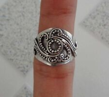 Solid Silver, 925 Traditional Carved Balinese Design Ring 36748