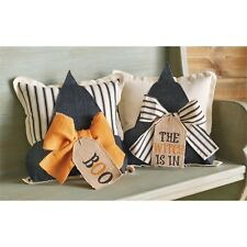 Mud Pie Black Witch Hat Burlap Canvas Pillow Boo or The Witch Is In Halloween