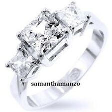 Fancy Princess Cut Cz Cubic Zirconia Anniversary Wedding Engagement Ring Silver