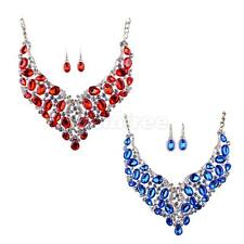 Chic Wedding Bridal Full Crystal Bib Statement Necklace Earrings Set Jewelry Set