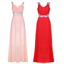 Women Sleeveless Sequined Padded Chiffon Party Bridesmaid Cocktail Maxi Dress