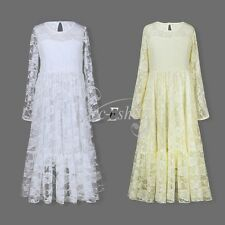 Flower Girl Kid Wedding Bridesmaid Long Sleeves Floral Lace Gown Long Sash Dress
