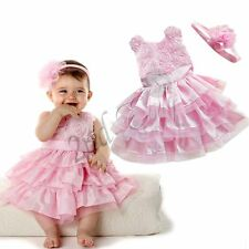 Newborn Toddler Baby Girl Kid Rosette Tutu Dress Outfit Clothes Headband Party