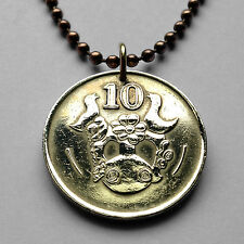 Cyprus 10 cents coin pendant Cypriot necklace singing BIRDS vase flowers n000904