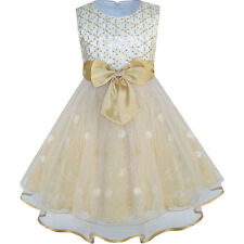 Flower Girls Dress Bow Tie Champagne Sequin Wedding Pageant Age 2-10 Years Party