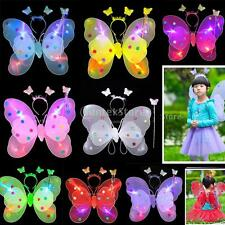 3Pc Kid Girl Butterfly Angel Wing Wand Headband Fairy Birthday Party Costume Set