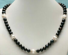 "Long 18"" 22"" 24"" 28""  8-9mm Real Natural Black & White Akoya Pearl Necklace"