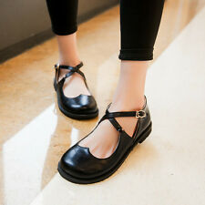 retro womens round toe cross strap lolita shoe hollow out casual shoes plus size