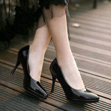 New Synthetic Patent Leather Pumps Formal High Heel Lady Shoes UK All Size s061