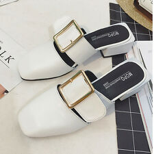 Women Ladies Casual Summer Mules Shoes Buckle Pumps Chunky Slipper Sandals Size
