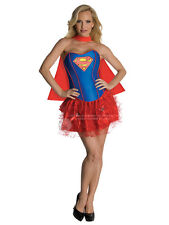 Adult Ladies Supergirl Corset & Tutu Superhero Fancy Dress Costume Sexy Outfit