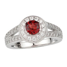 5mm Natural Red Garnet 925 Sterling Silver Ring Women Jewelry January Birthstone
