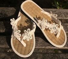 Ladies Straw Flip Flops Hand Decorated with Daisy Applique