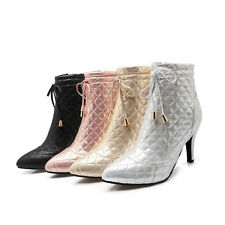UK All Size New Laces High Heel Lady's Shoes Side Zip Ankle Women's Boots s538