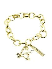 Zodiac Sign Bracelet Chain Link Charm Pearl Crystal Astrology Birthday Gold Tone