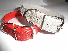 """Sparkly Glitter Dog Collar, Red or Silver Faux Leather 15"""" 17"""" 19"""""""