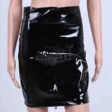 Sexy Women Lace-up Lingerie Patent Leather Wetlook Mini Skirt Party Clubwear
