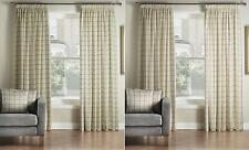One Pair Of MONTGOMERY Modern Check Burchill Pencil Pleat Lined Curtains