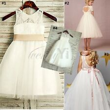 New White Lace Wedding Party Baby Bridesmaid Tulle Princess Flower Girl Dress