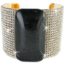 20-Row RED BLACK or GRAY Pave Set Gold Crystal Cz Bangle Cuff Statement Bracelet