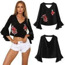 Women's Backless Floral Embroidery Deep V Flare Sleeve Blouse Tops T Shirt W4X3