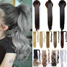 """Long Wrap On 18/24/26"""" Ponytail Clip In Hair Extensions Ombre Mix Brown As Human"""