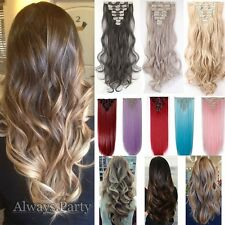 """UK Full Head Ombre Long Clip In Hair Extensions Brown Blonde 18-26"""" 8 Piece Lady"""