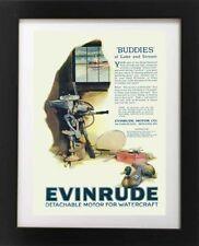 VTG 1920s Evinrude Boat Motor DUCK DECOY Fishing Pole Lodge Cabin Lake ART PRINT