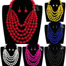 Fashion Jewelry Chain Resin Pearl Chunky Choker Statement Pendant Bib Necklace