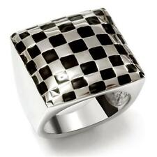 Silver Stainless Steel Black Enamel Checker Ring Cocktail Size 9 10 USA Seller