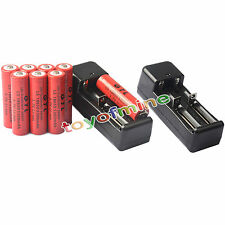 8x 3.7V 18650 GTL Li-ion 5300mAh Rechargeable Battery -LED Flashlight+2x Charger