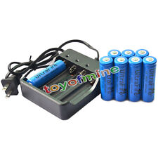 8x 18650 3.7V UF 3800mAh Li-ion Rechargeable Battery for LED Torch + Charger