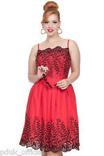 "Voodoo Vixen Vintage ""Scarlett"" 50s Semi Swing Summer Red Party Prom Dress 8-14"