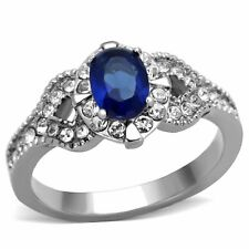 Womens 7x5mm Montana Blue Oval Cut CZ Center Stainless Steel Cocktail Ring