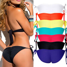 Sexy Womens Cheeky Bikini Bottom Side-Tie Ruched Beachwear Swimwear Swimsuit LC