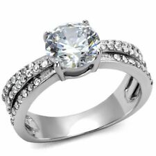 8x8mm Round CZ Center Three Side Rows Stainless Steel Bridal Ring