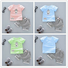 2pcs Newborn Toddler Kids Baby Boys Outfits T-shirt Tops+grid Shorts Clothes Set