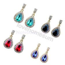 Fashion Statement Elegant Teardrop Shaped Rhinestone Big Drop Dangle Earrings