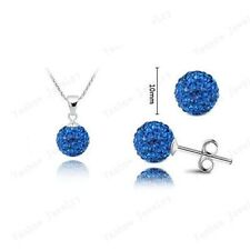 SHAMBALLA  SPARKLY 10mm BALL  STUD EARRINGS & NECKLACE SET   PAVE CZECH CRYSTAL