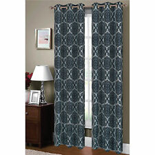Window Elements 84-inch Flocked Diamante Faux-silk Curtain Panel Pair - 76 x 84