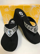 Yellow Box Belmac Black Leather With Clear Stones Wedge Flip Flops