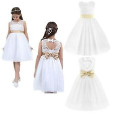 Flower Girl Kid Christening Wedding Party Bridesmaid Princess Formal Tulle Dress