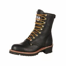 "Georgia Boot Work Mens 8"" Logger Steel Washer Goodyear Black G8120"