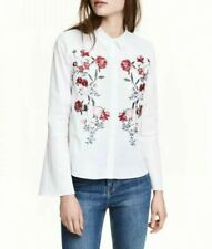 New Womens Ladies Floral Embroidered Trumpet Sleeves White Blouse Tops Shirt
