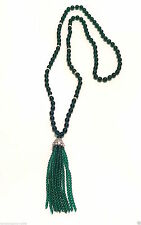 KENNETH JAY LANE-38″INCH-GREEN TASSEL NECKLACE WITH PAVE CRYSTALS